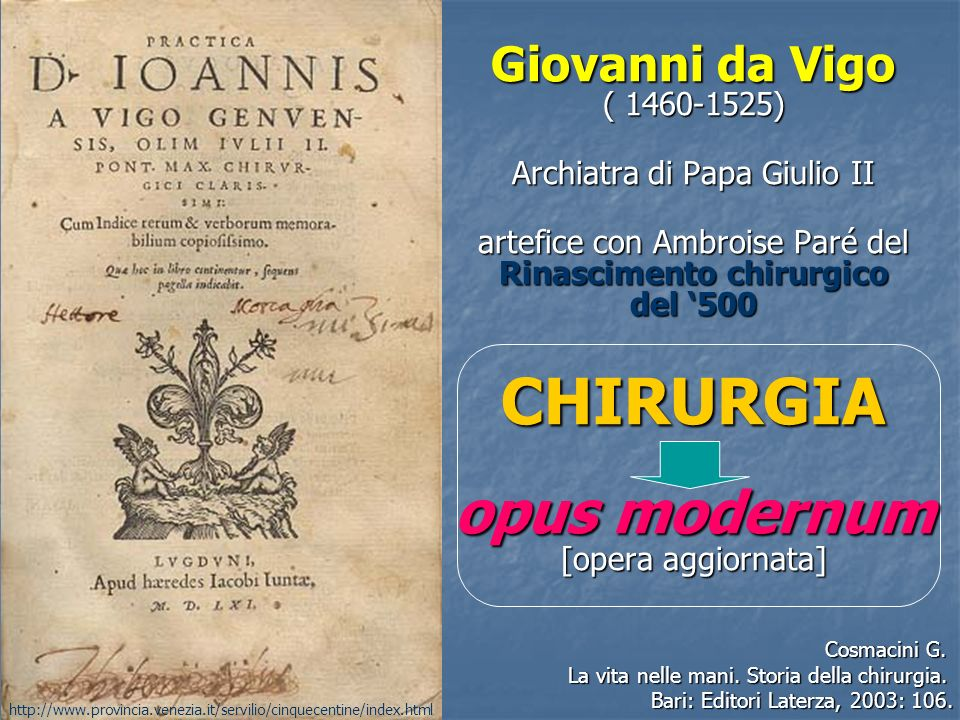 CHIRURGIA opus modernum [opera aggiornata]